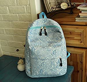 Women's Backpack Lace Shoulders Bag Fasion High Capacity Travelling Bag (Blue)
