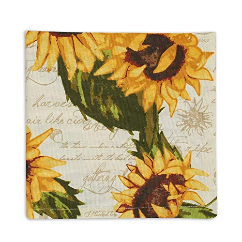 Design Imports Fall Thanksgiving Rustic Sunflowers Table Linens - Sunflower Print Napkins Set of 4 -  20-Inch by 20-Inch