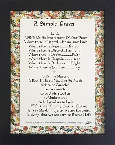Desiderata Gallery Brand, Framed Simple Prayer for Peace by St. Francis of Assisi, Florentine Design