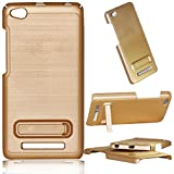 Xiaomi Redmi 4A - 2 Cut Stand with Hard wooden design back cover With KickStand Feature for Redmi 4A - GOLD CASE