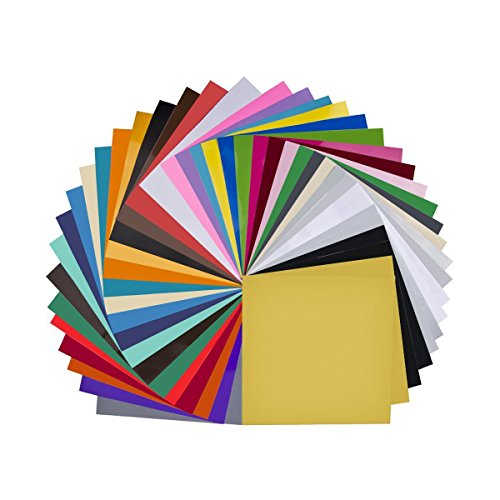 "Craft Vinyl - Vinyl Sheets 40 Pack 12"" x 12"" Premium Permanent Self Adhesive Vinyl Sheets for Cricut,Silhouette Cameo,Craft Cutters,Printers,Letters,Decals (35 Color)"