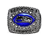 SEATTLE SEAHAWKS (Shaun Alexander) 2005 NFC CHAMPIONS (Super Bowl XL) Rare & Collectible High-Quality Replica NFL Football Silver Championship Ring with Cherrywood Display Box