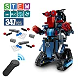DAZHONG Remote Control Building Block Robot Educational Electric RC Robot Bricks STEM Toys with LED Intelligent Charging Gift for Boys Girls Age of 6,7,8,9-14 Year Old (Blue)