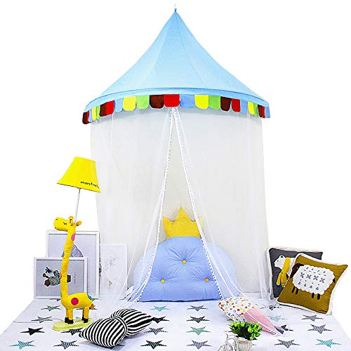 Princess Hanging - LifeEase Baby Bed Canopy, Princess Hanging Play Tent, Round Hoop Crib Netting for Bedroom Decoration, Study Indoor Reading Corner, Children Play Tent Castle (Dark Blue)