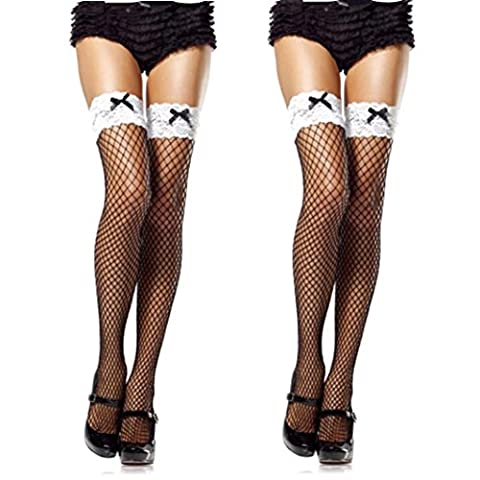 Leedford Sexy Lace Fishnet Thigh High Extended Size Stockings, Women Stockings Drop (Free Size, - Nurse Thigh Highs Fishnet Stockings