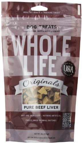 Whole Life Pet Single Ingredient USA Freeze Dried Beef Liver Treats for Dogs, 4-Ounce