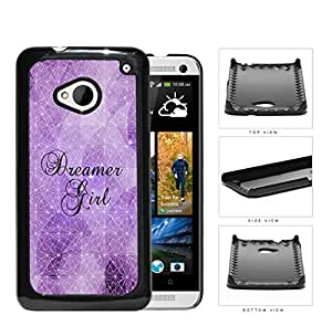 Dreamer Girl Geometric Triangles Purple Nebula HTC one M7 Hard Snap on Plastic Cell Phone Cover