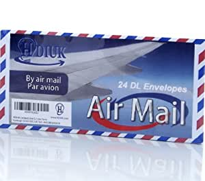 24 Classic style Air Mail / Par Avion Chevron edge DL size Gummed Letter Envelopes.