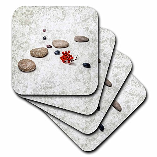 3dRose Alexis Photography - Objects Zen - Intersection of stones and pebbles, cluster of red rowan berries. Zen - set of 4 Coasters - Soft (cst_265666_1)