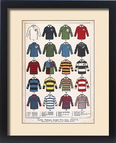 Framed Print of Some Famous Rugby Football Jerseys (Print Rugby Jersey)