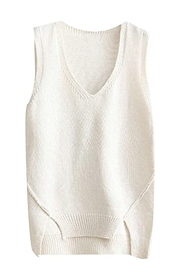 012aee5874b Wofupowga Women Cut-Out Sweater V Neck Sleeveless Loose Fit Knit All-Match  Vest Beige One-Size at Amazon Women s Clothing store