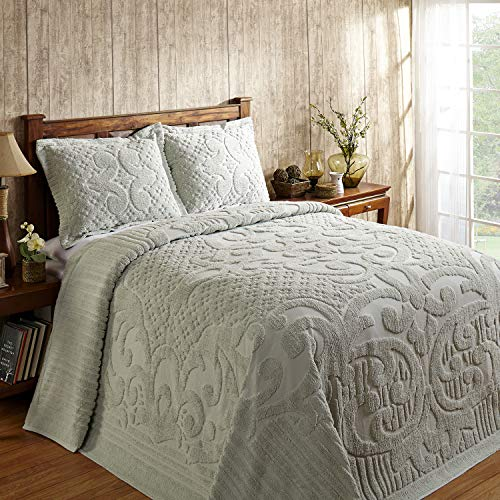 Better Trends / Pan Overseas Ashton 430 GSM Heavy Weight 100-Percent Cotton Chenille Tufted Bedspread, Twin, Sage