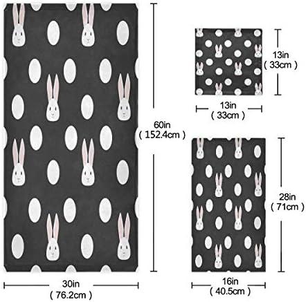 vinlin - Set di 3 asciugamani, in microfibra, asciugamano assorbente per la casa e la cucina (1 asciugamano, 1 asciugamano, 1 guanto)