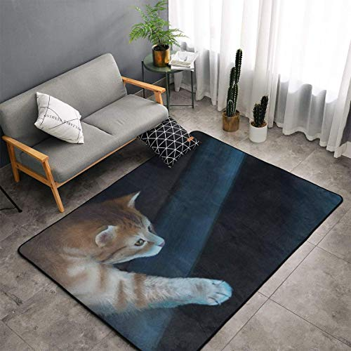 Jingclor Cute Cat Catch Fish Painting Area Rugs, Bedroom Living Room Kitchen Mat, Non-Slip Floor Mat Doormats Nursery Rugs, Children Play Throw Rugs Carpet Yoga Mat