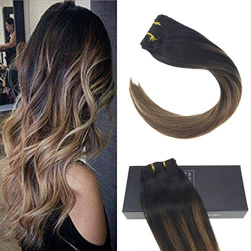 Sunny 16inch Balayage Real Human Hair Clip in Extensions #1B Natural Black Fading to #6 Medium Brown Full Head Clip in Hair Extensions 7pcs (Remi Human Hair Extensions)
