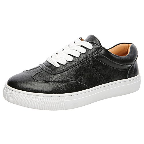 Shenn Womens Low Heel Round Toe Casual Leisure Leather Fashion Sneakers Black