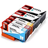 JetSir Replacement for HP 920 XL Ink Cartridge 5 Pack, Work with HP Officejet 6500 6500A 7500 7000 6000 7500A E709a E710a Printer