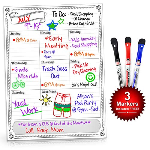 Smart Planner's Weekly Magnetic Refrigerator Calendar Dry Erase Board Weekly Planner Calendar for Kitchen Fridge With Free Dry Erase Marker Included White 11.75Hx16W