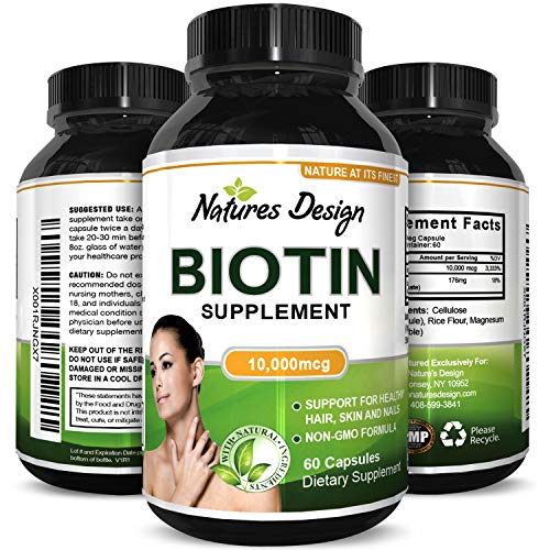 Biotin Supplement with Vitamin B Complex for Stronger Hair and Nails, Supports Healthy Growth and Fights Hair Loss Improves Digestion and Reduces Breakage in Women and Men  -