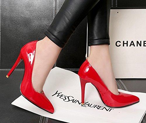 Aisun Femmes Sexy Coupe Basse Bout Pointu Brun Habillé Slip Sur Les Talons Hauts Pompes Pompes Chaussures Rouge