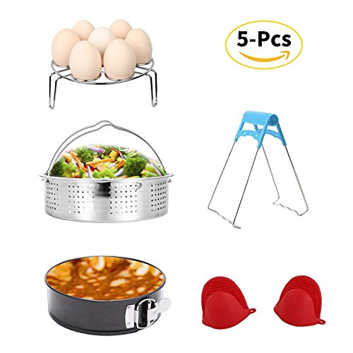 Instant Pot Accessories Set with Steamer Basket/Egg Steamer Rack/Non-stick Springform Pan/Steaming Stand/1 Pair Silicone Cooking Pot Mitts 5 Pieces-Fits 5,6,8Qt Instant pot Pressure Cooker