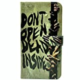 Galaxy S7 Case Zombie Quotes Dont open dead Inside Pattern Leather Wallet Credit Card Holder Pouch Flip Stand Case Cover For Samsung Galaxy S7