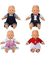 Miunana Vestidos Verano Casual Ropas Fashion 14 - 16 Pulgada Muñeca Bebé 36 - 40 cm Doll (4X Ropas)