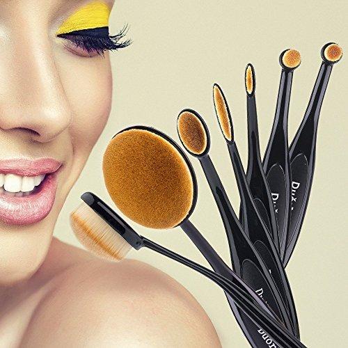 Duorime New 7pcs Black Oval Toothbrush Makeup Brush Set Cream Contour Powder Concealer Foundation Eyeliner Cosmetics Tool ...