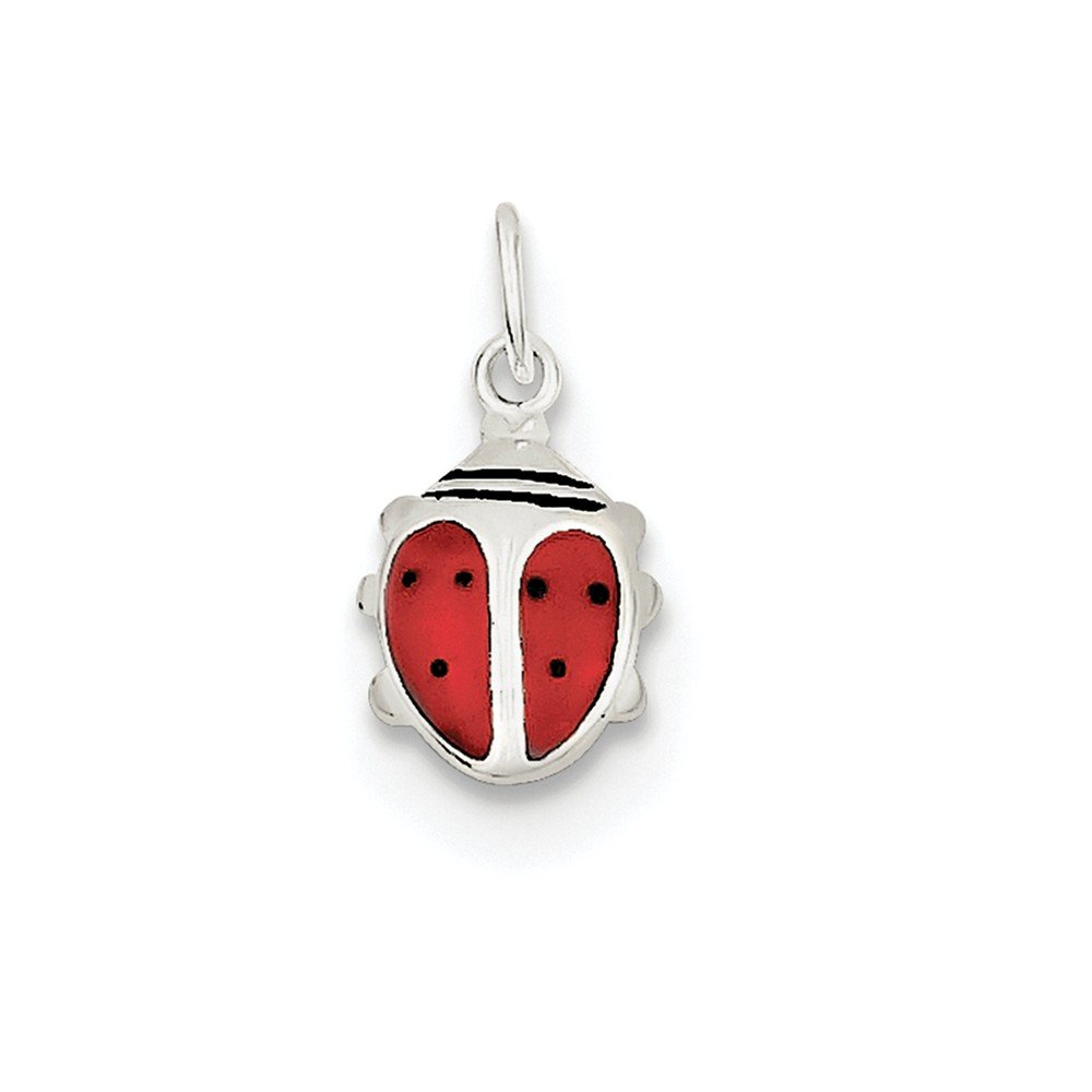 Sterling Silver Concave Polished Open back Enameled Lady Bug Charm