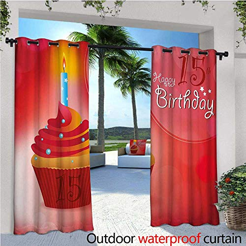 cobeDecor 15th Birthday Indoor/Outdoor Single Panel Print Window Curtain Yummy Graphic Style Cupcake with Candlestick Stars Warm Ceremony Silver Grommet Top Drape W120 x L108 Red Orange and Blue