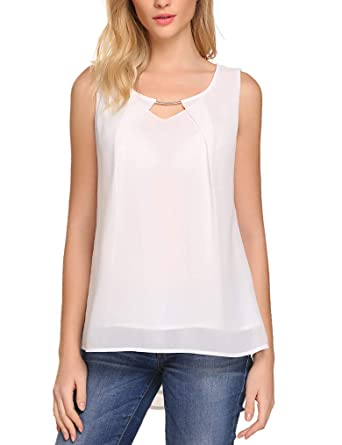 612eff826c10a3 Women's Summer Loose Fitting Casual Chiffon Sleeveless Tank Blouse Shirt  Tops (S, White-