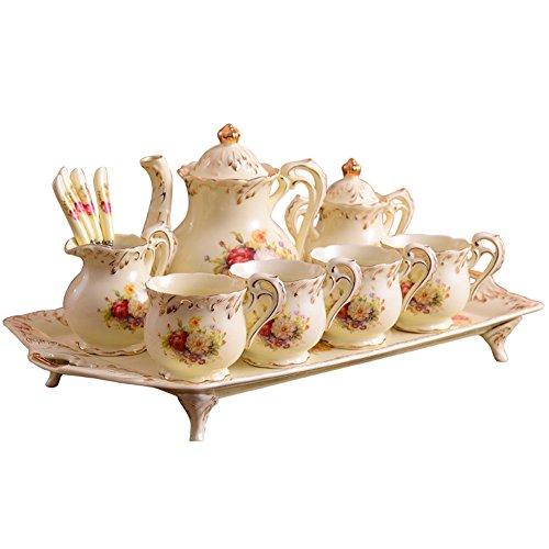 Yosou Home 8-Piece Bone China Porcelain Tea Set with Gold Trim, Lotus Tea Cup and Saucer set of 6.