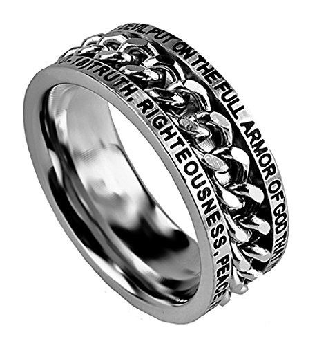 Spirit And Truth Jewelry Armor of God Stainless Steel Silver Spinning Chain Ring Ephesian 6:10 -