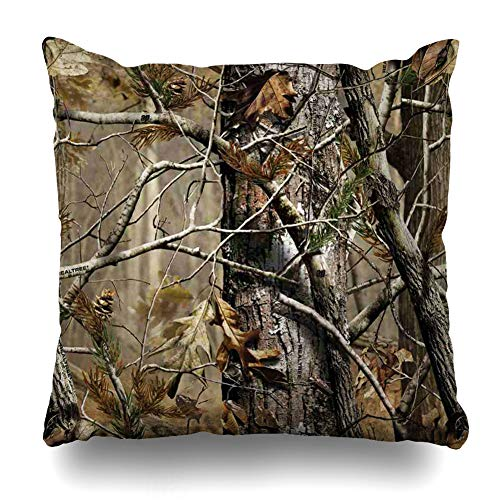 (InnoDIY Throw Pillow Covers Realtree Camo Print Pillowslip Square Size 16 x 16 Inches Cushion Cases Pillowcases)