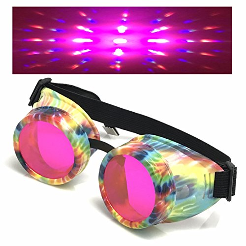 UV Glow in The Dark Steampunk Rave Goggles Prism Diffraction Retro Round Glasses