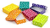Multi Color Polka Dot Jewelry Gift Packaging Cotton Filled Box 3'' x 2'' (Package of 100)
