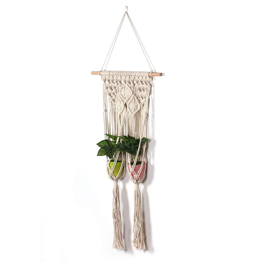 LEERTS Pianta Hanger Macrame Hanging Planter Basket, Corda di Cotone Pianta Portavasi Decorazione della Parete di Casa per Interni All'aperto (colore   Beige)