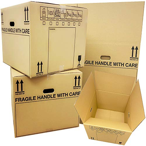 10 Strong Extra Large (XL) Cardboard Storage Packing Moving House Boxes Double Walled with Carry Handles and Room List…