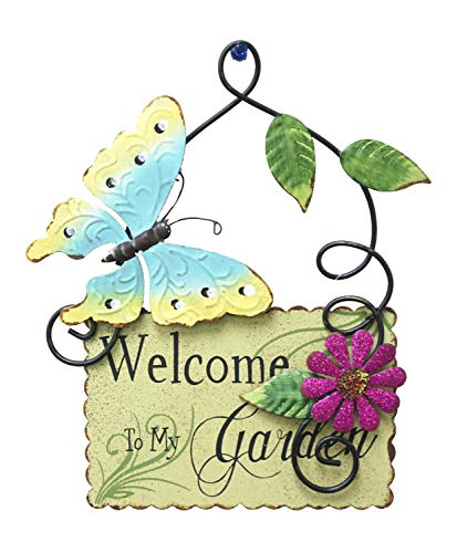 (Metal Spring Garden Wall Art Welcome Garden. Metal Plaque (Green))