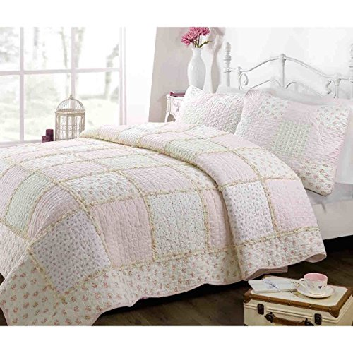 2 Piece Girls, Perfect Floral Pattern Quilt Set Twin, Contemporary Classic French Country Patchwork Design, Shabby Chic Gingham Style Themed, Charming Printed Bedding, Adorable Multi, Color by AF ULTRA