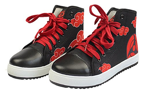 (GK-O Anime Naruto Itachi Uchiha Cosplay Shoes Canvas Sneakers Costume (US Male 9(27cm)) Black)
