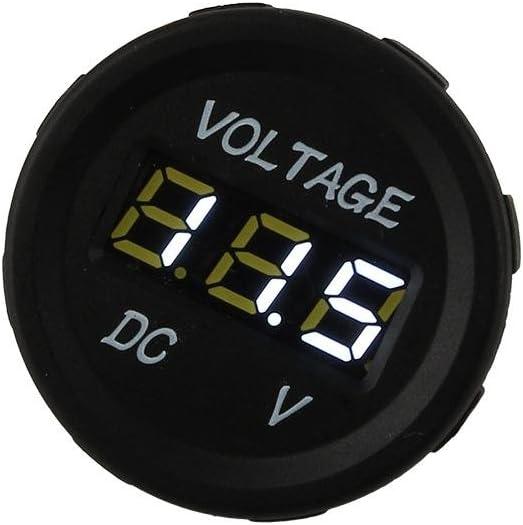 Akozon Volt/ímetro Enchufe 12V-24V Coche Moto LED DC Pantalla digital Volt/ímetro Medidor a prueba de agua ZY