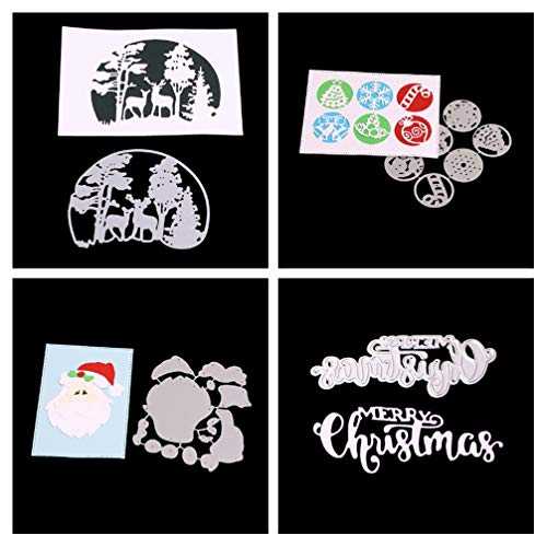 Meslio 4pcs Cutting Dies Set for Card Making, Cut Die Stencil Template Mould for DIY Scrapbook Embossing Album Paper Card Craft (Forest Deer,Snowflake Candy,Santa Claus,Merry Christmas Words)