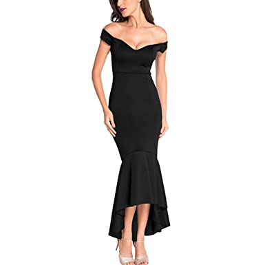 Uranus Womens Evening Off Shoulder High Low Mermaid Jersey Formal Dress Prom Gowns