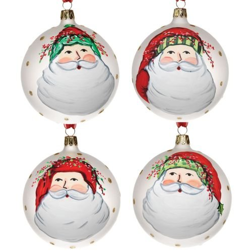 (Vietri Old St. Nick Christmas Ball Ornament, Santa Face, Assortment of 4)