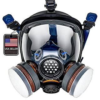 PD-100 Full Face Gas Mask & Organic Vapor Respirator - P-A-1 Dual Activated Filter Set - Eye Protection