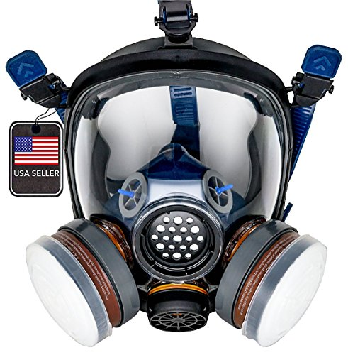 PD-100 Full Face Organic Vapor Respirator - Full Manufacturer Warranty - ASTM Certified - Double N95 Activated Charcoal Air filter - Eye Protection - Industrial Grade Quality]()