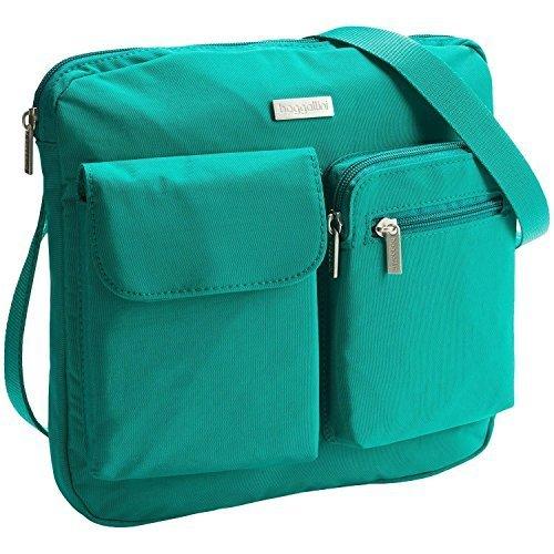 Baggallini CANYON BAGG Crinkle Nylon Crossbody Shoulder Bag TEAL Gray Interior