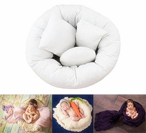 M&G House 4 PC Newborn Photo Props Baby Photography Basket Filler Wheat Donut Posing Props Baby Pillow mg