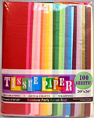"Creative Hobbies Rainbow Color Tissue Paper Bonus Pack, 20"" x 26"" Sheets, Assorted Colors, Pack of 100 Sheets!"